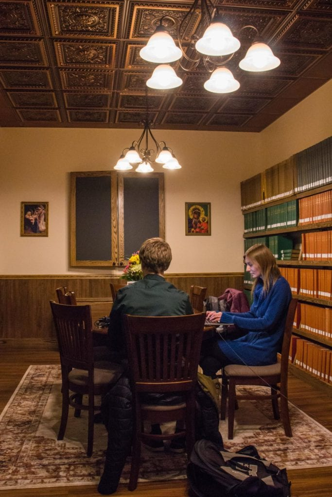 The Totus Tuus Maria Group Study Room is open for all Franciscan University students to reserve for study, meetings, or group events.