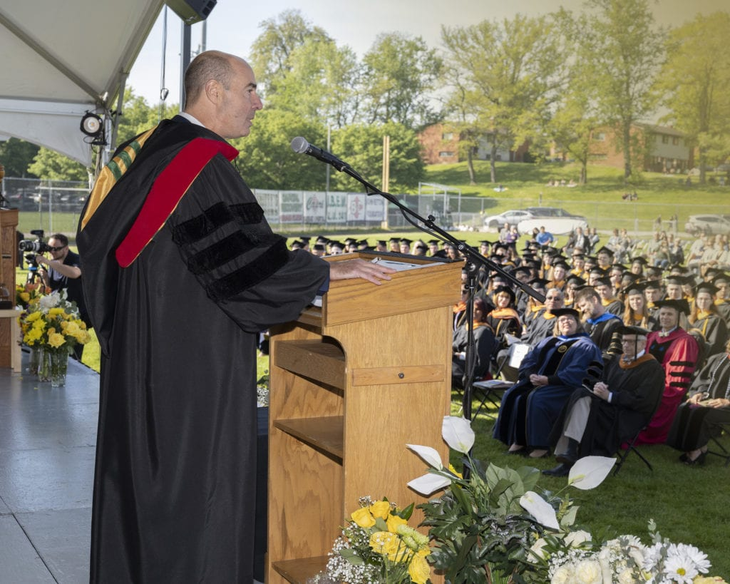 Former U.S. Secretary of Labor Eugene Scalia delivered the commencement address at both the science and arts ceremonies, held Saturday May 15 at Franciscan University of Steubenville.