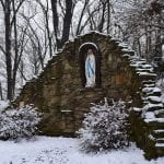 the marian grotto in the snow