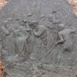 closeup of a station in the stations of the cross