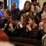 Students in Christ the king during ash wednesday
