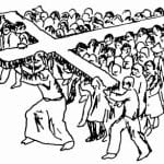 Group carrying cross together drawing